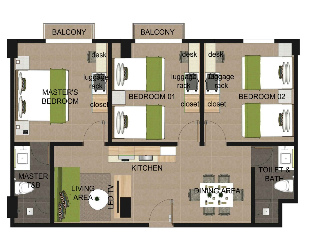 Three bedroom apartment suites azalea boracay for 3 bedroom floor plans